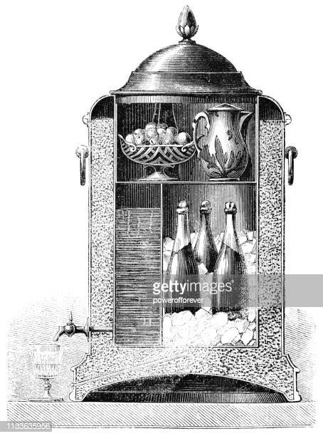 Cross Section Diagram of an Early Icebox in America - 19th Century