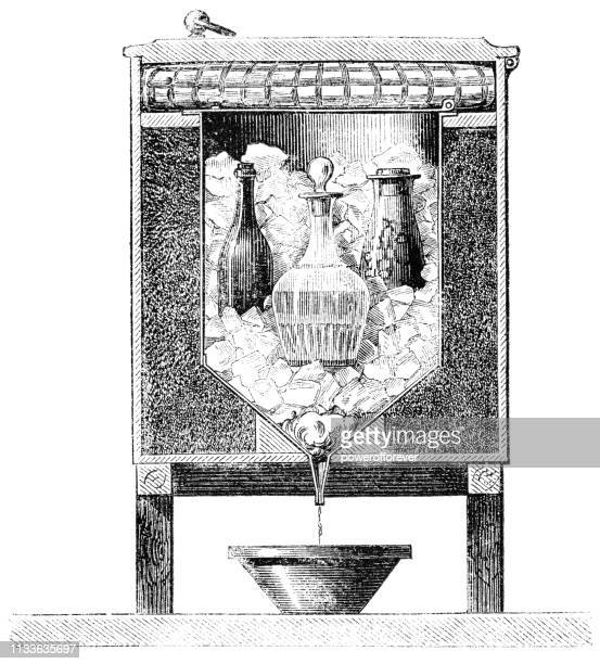Cross Section Diagram of an Early Icebox in India - 19th Century