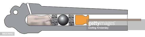 ilustraciones, imágenes clip art, dibujos animados e iconos de stock de cross section digital illustration of gunpowder charge, wicker wads, cannonball, and rammer, inside barrel of naval cannon - fajo de billetes