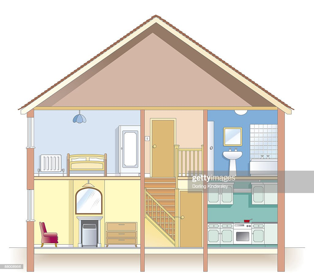 Cross Section Digital Illustration Showing Places In House Most At Risk  From Condensation : Stock Illustration