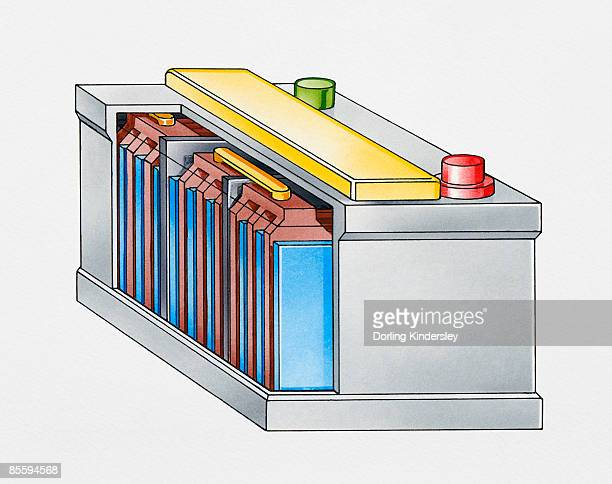 cross section illustration of a lead-acid car battery - car battery stock illustrations, clip art, cartoons, & icons