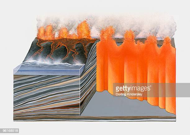 cross section illustration of basaltic volcano - basalt stock illustrations, clip art, cartoons, & icons