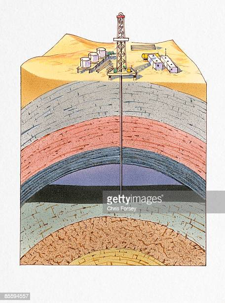 Cross section illustration of drilling rig in desert showing crude oil reservoir below rock strata