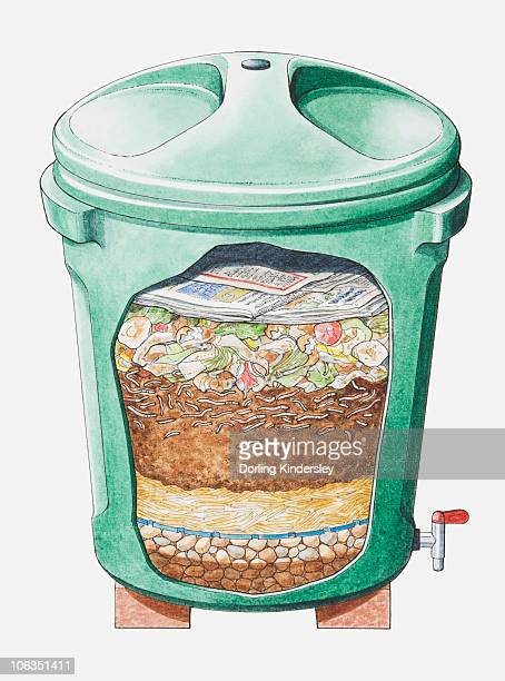Cross section illustration of green plastic compost bin on bricks showing layers of stones, straw, soil, food waste and newspaper