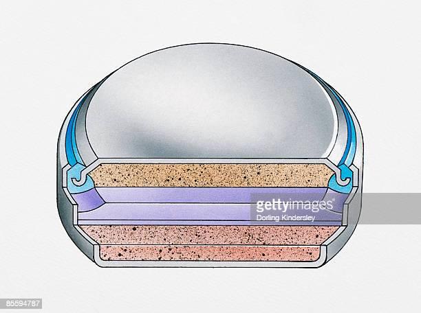 cross section illustration of round alkaline battery - alkaline stock illustrations