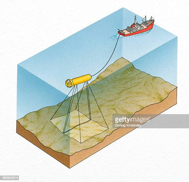 Cross section illustration of sea and seabed with ship connected to underwater sidescan sonar towfish
