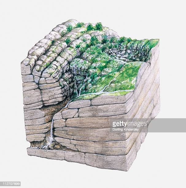 cross section illustration showing development of limestone gouffre berger cave in france - geology stock illustrations, clip art, cartoons, & icons