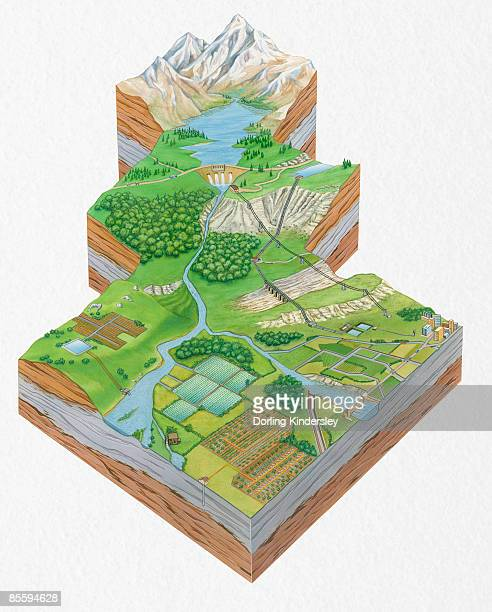 cross section illustration showing sequence of freshwater resources including snowcapped mountain, reservoir, dam, sewage treatment plant, rivers, and water underground  - water treatment stock illustrations, clip art, cartoons, & icons