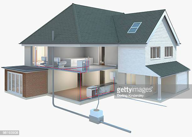 cross section model of a house with plumbing exposed - model to scale stock illustrations, clip art, cartoons, & icons