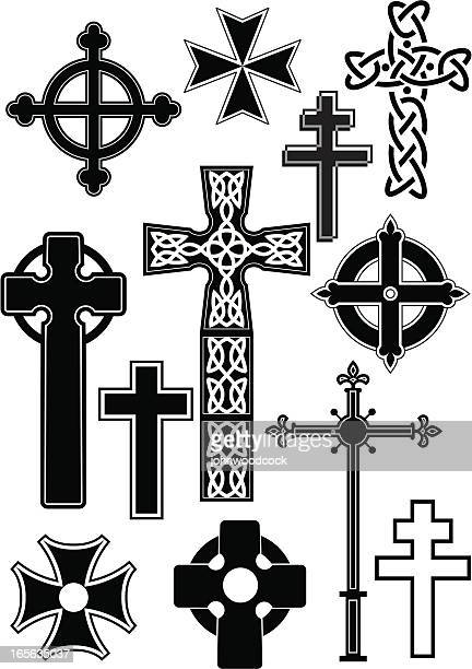 cross silhouettes - cross stock illustrations