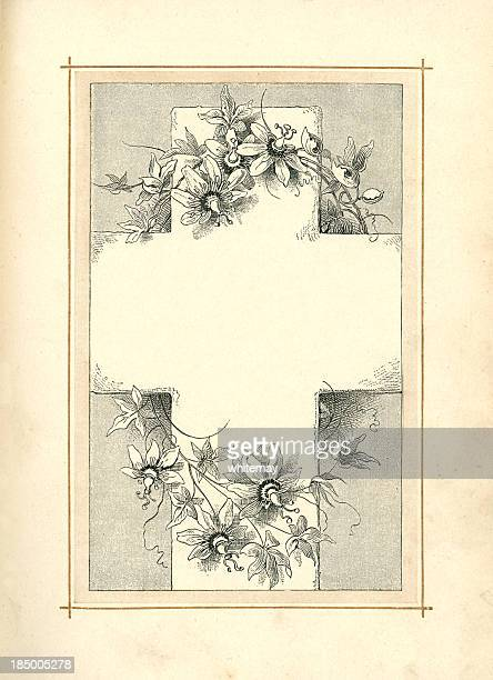 cross with passion flower decoration (1883) - dirty easter stock illustrations