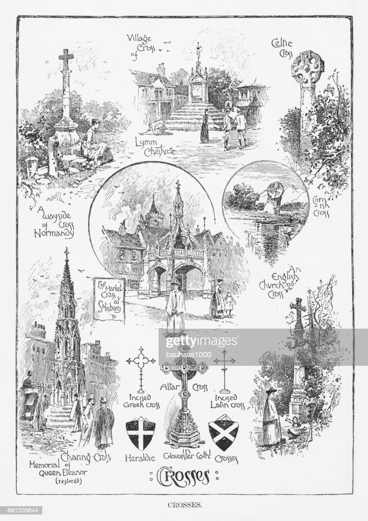 Crosses from Various Religions, Engraving, 1892 : stock illustration