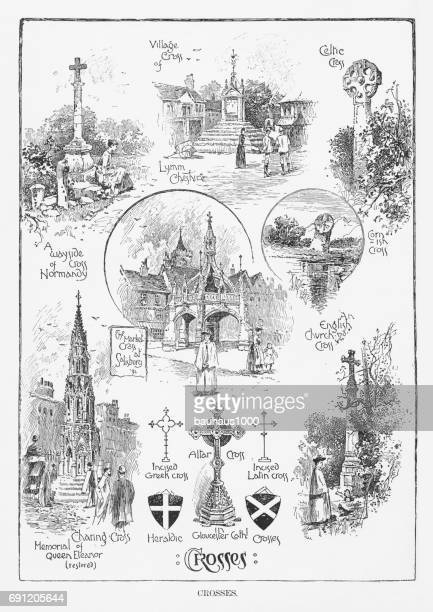 crosses from various religions, engraving, 1892 - spire stock illustrations, clip art, cartoons, & icons