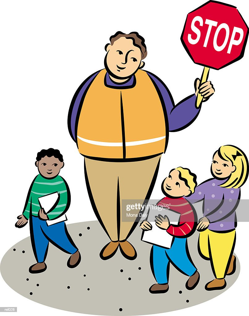 Crossing Guard & Children : Ilustração de stock