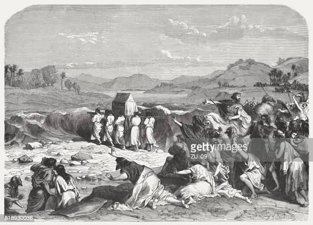 crossing the jordan (joshua 3), wood engraving, published in 1886 - jordan middle east stock illustrations, clip art, cartoons, & icons