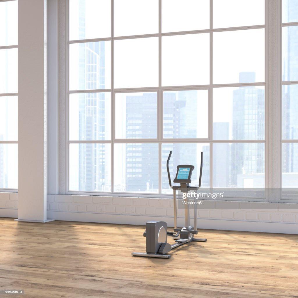 Crosstrainer in a loft with view to skyline, D Rendering : Ilustração
