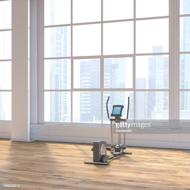 crosstrainer in a loft with view to skyline, d rendering - loft apartment stock illustrations, clip art, cartoons, & icons