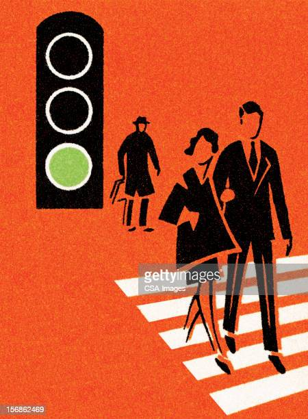 crosswalk at green light - zebra crossing stock illustrations