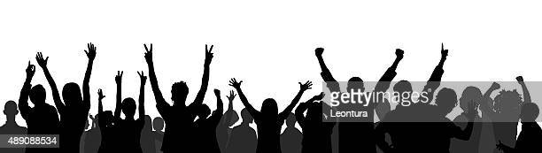 crowd - fan enthusiast stock illustrations, clip art, cartoons, & icons