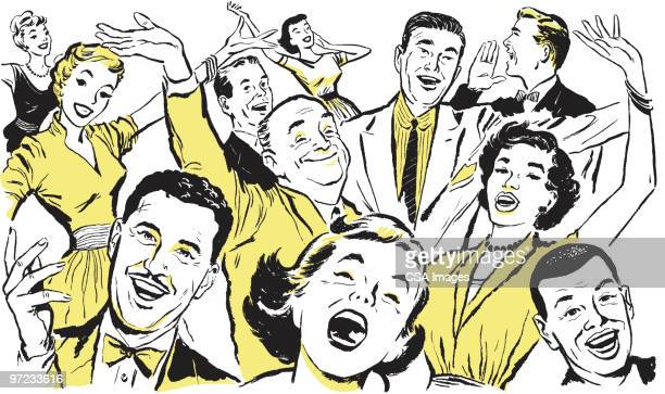 crowd - laughing stock illustrations