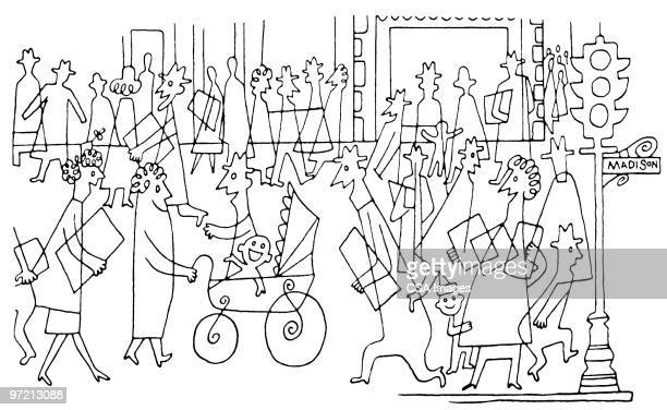 crowd of people - residential building stock illustrations