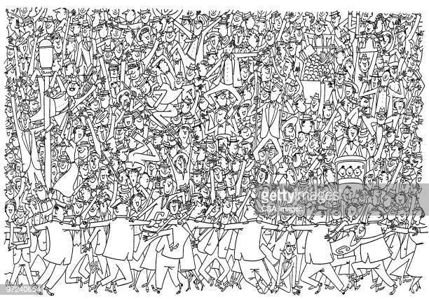 crowd of people - fan enthusiast stock illustrations