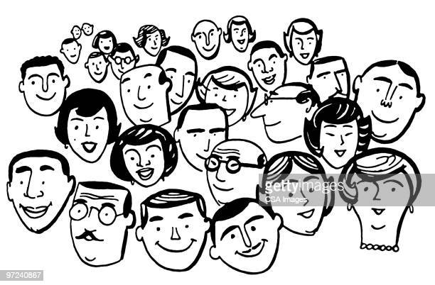 crowd of people - friendship stock illustrations