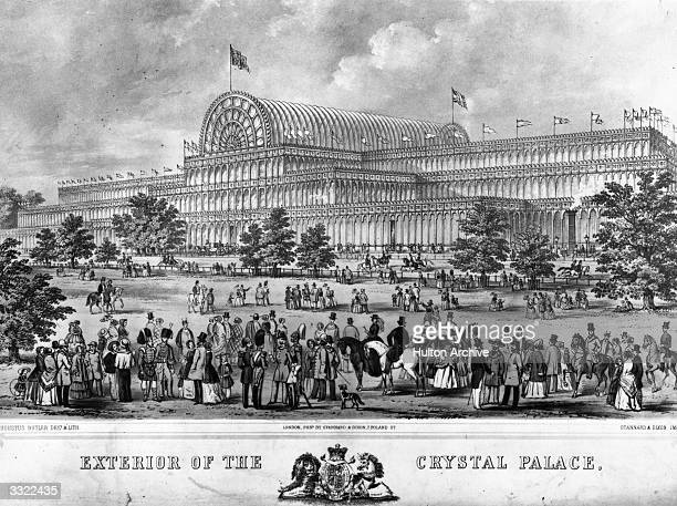 Crowd of visitors at the Great Exhibition, Hyde Park, London, with Crystal Palace in the background. Original Artwork: Lithograph by Augustus Butler