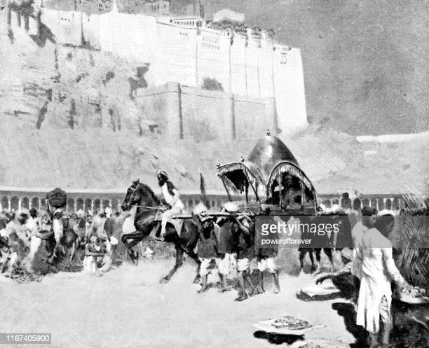 crowded market by mehrangarh in jodhpur, india - british raj era 19th century - sedan stock illustrations, clip art, cartoons, & icons