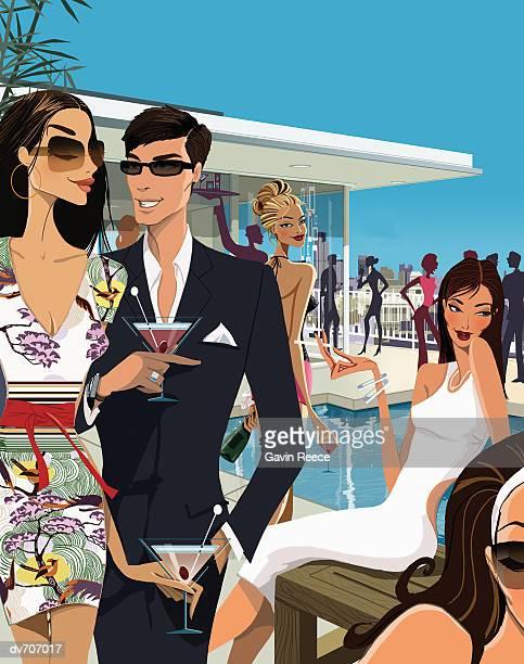ilustraciones, imágenes clip art, dibujos animados e iconos de stock de crowded party by a swimming pool - pool party