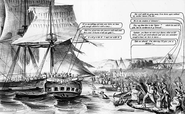 Crowds of men line the shores of California, desperately offering sacks full of gold to be transported home to New York after the Gold Rush. 'The way...