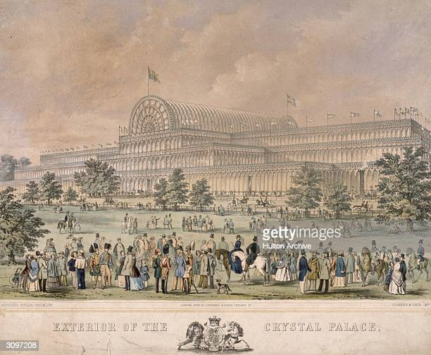 Crowds outside the Crystal Palace in Hyde Park, London, designed by Sir Joseph Paxton for the Great Exhibition of 1851. Original Artwork: Drawing and...