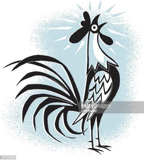 ilustrações de stock, clip art, desenhos animados e ícones de crowing rooster - acordar