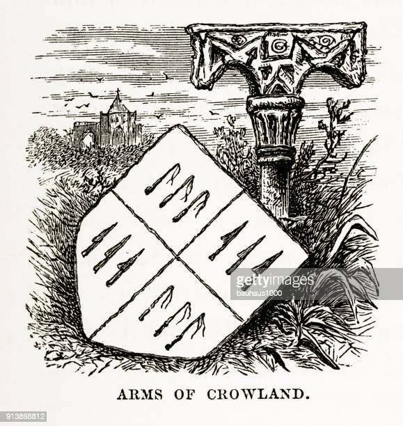 Crowland Coat of Arms Victorian Engraving