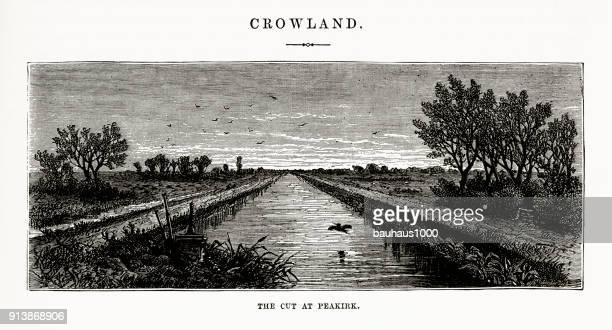 Crowland, The Cut at Peakirk Victorian Engraving, Circa 1840