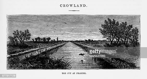 Crowland, The Cut at Peakirk Victorian Engraving