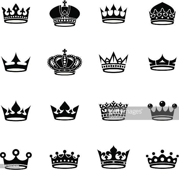 crown black and white collection - crown stock illustrations