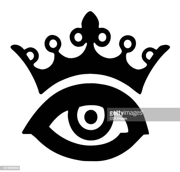 crown eye - queen royal person stock illustrations