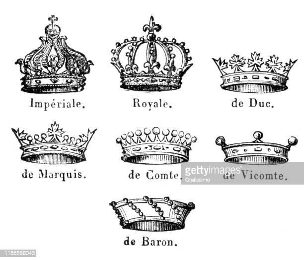 crown headwear illustration 1888 - historical document stock illustrations, clip art, cartoons, & icons