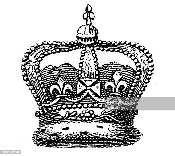 crown of england - queen royal person stock illustrations, clip art, cartoons, & icons