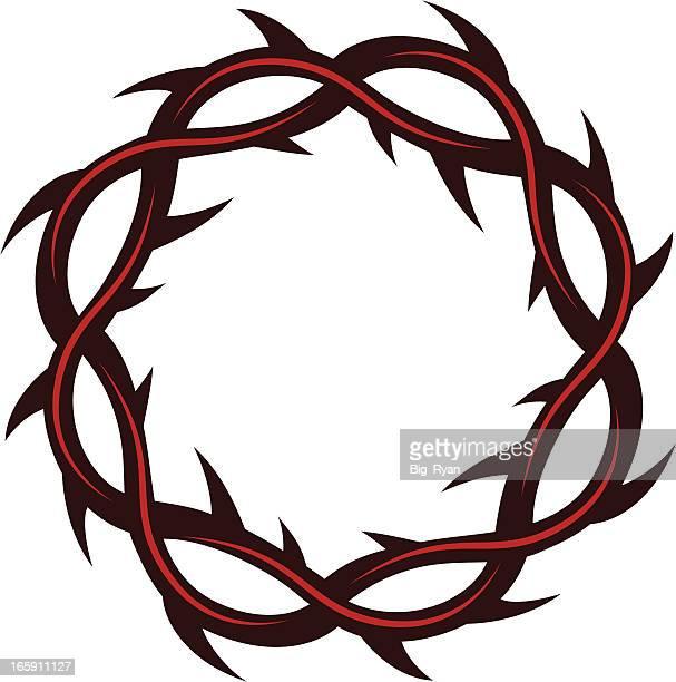 ilustraciones, imágenes clip art, dibujos animados e iconos de stock de corona de thorns - corona de espinas