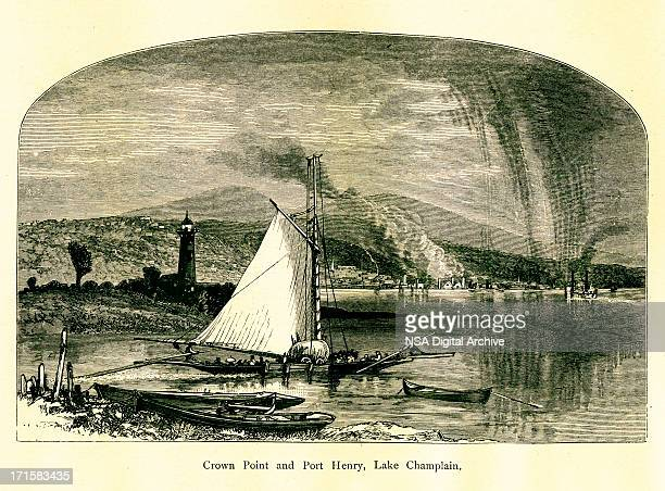 crown point and port henry, new york   historic illustrations - village stock illustrations
