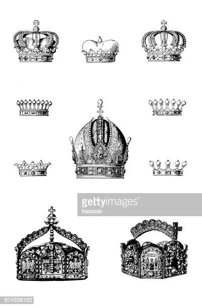 crown set - princess stock illustrations