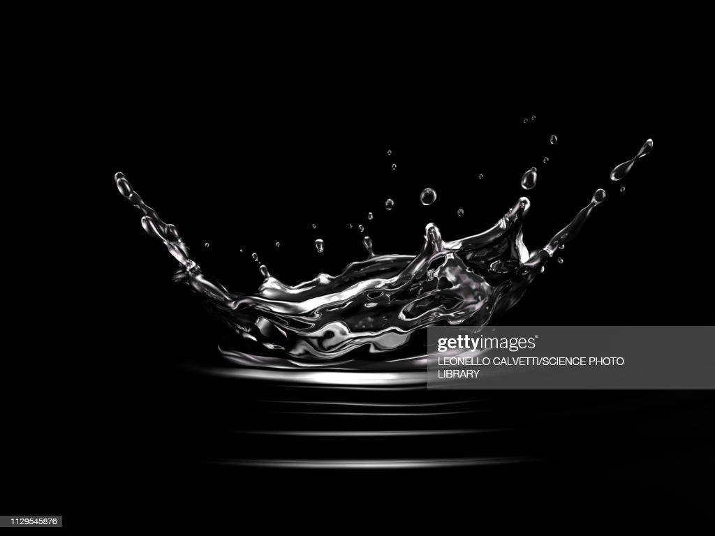 Crown splash in water with ripples, illustration : Stock Illustration
