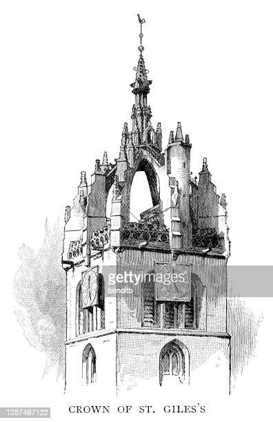 crown steeple of st giles' cathedral - tower stock illustrations