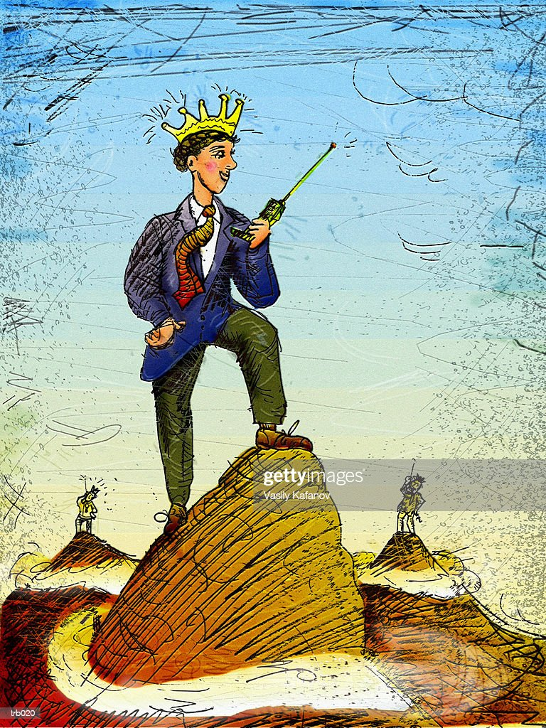 Crowned Man with Cell Phone : Stockillustraties