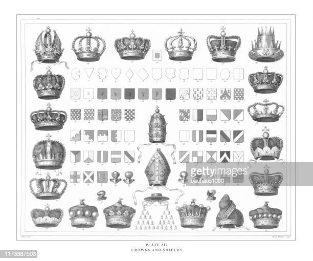 crowns and shields engraving antique illustration, published 1851 - corona zon stock illustrations