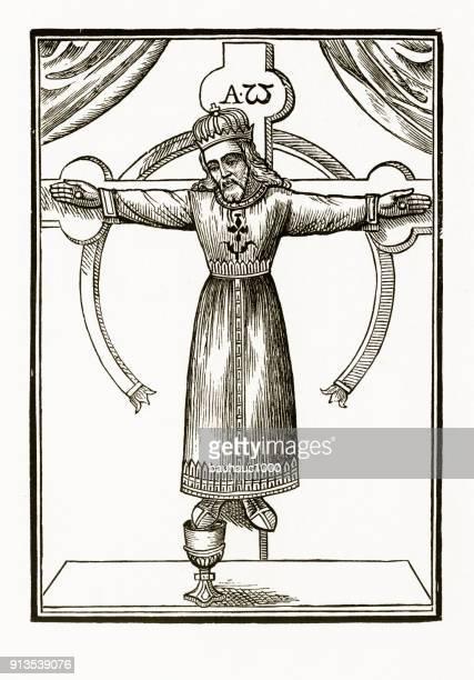 Kruisiging van Christus christelijke symboliek gravure