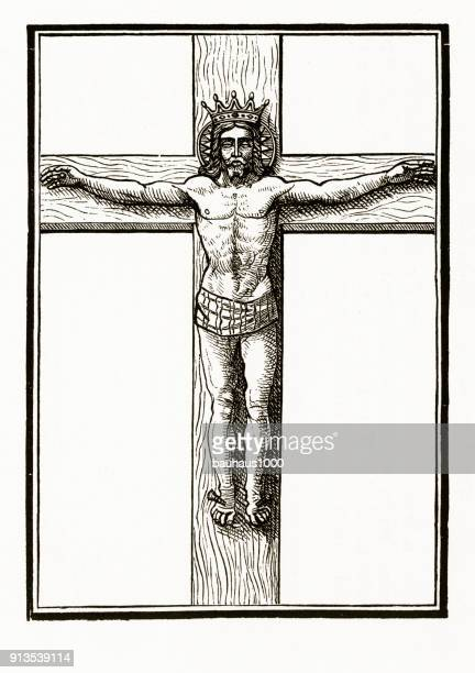 crucifixion of christ christian symbolism engraving - the crucifixion stock illustrations, clip art, cartoons, & icons