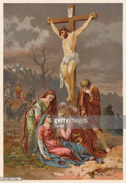 crucifixion of christ, chromolithograph, published in 1890 - crucifix stock illustrations